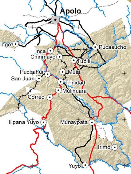 Mapa Caminos Pueblo LECO de Apolo