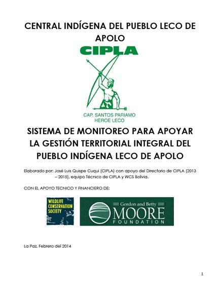 Primer reporte del sistema de monitoreo para apoyar la gestión territorial integral del pueblo indígena LECO de Apolo
