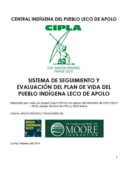 Primer reporte del sistema de seguimiento y evaluación de plan de vida del pueblo indígena LECO de Apolo